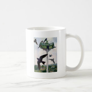 Purple Martins and Their Birdhouse Coffee Mug