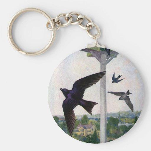 Purple Martins and Their Birdhouse Basic Round Button Keychain