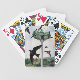 Purple Martins and Their Birdhouse Bicycle Playing Cards
