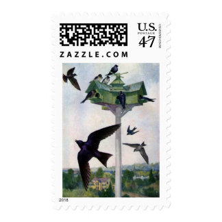 Purple Martins and Their Birdhouse Stamp