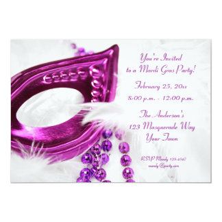 Purple Mask Beads Mardi Gras Invitation