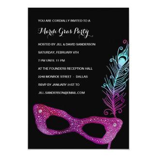 Purple Mask | Masquerade Mardi Gras Party 5x7 Paper Invitation Card