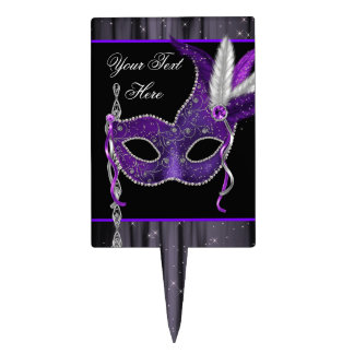 Purple Mask Masquerade Party Cake Topper