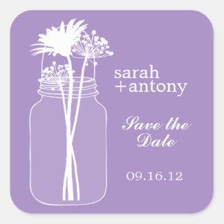 Purple Mason Jar and Flowers Wedding Square Sticker