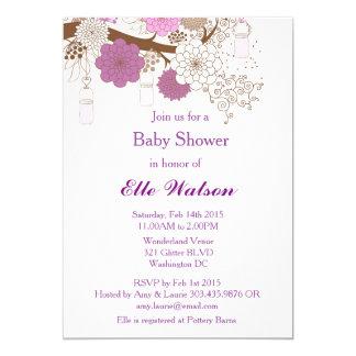 Purple Mason Jar Baby Shower, Bridal Shower Invite