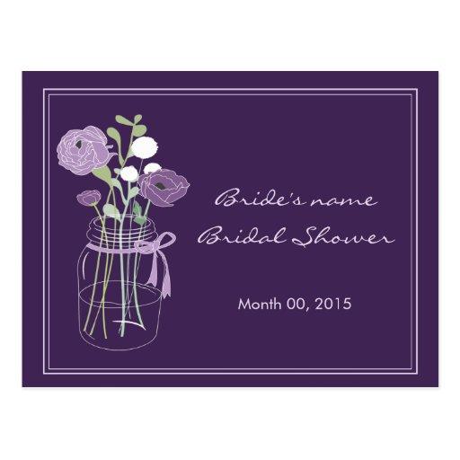 Purple Mason Jar Bridal Shower Advice Post Cards