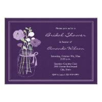 Purple Mason Jar Bridal Shower Invitations