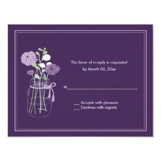 Purple Mason Jar Wedding RSVP Response Cards Custom Announcement