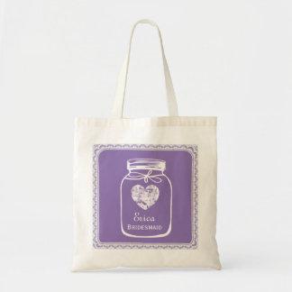 Purple Mason Jar Wedding Tote Bag BRIDESMAID A05