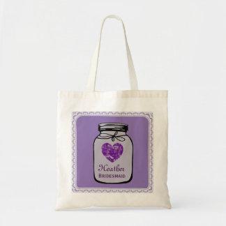 Purple Mason Jar Wedding Tote Bag BRIDESMAID A05A