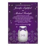 Purple Mason Jar with Fireflies Wedding 5x7 Paper Invitation Card