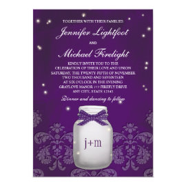 Purple Mason Jar with Fireflies Wedding 5