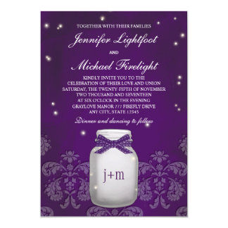Purple Mason Jar with Fireflies Wedding Personalized Announcements