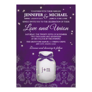 Purple Mason Jar with Fireflies Wedding Invite