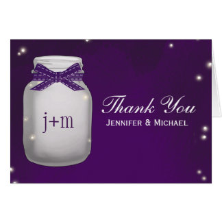 Purple Mason Jar with Fireflies Wedding Thank You Card