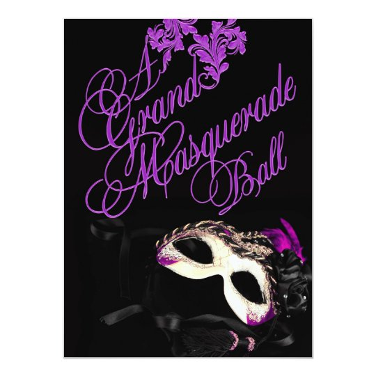 Purple Masquerade Ball Birthday Invitation