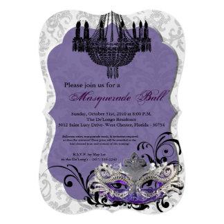 Purple Masquerade Ball Mask Costume Halloween Part 5x7 Paper Invitation Card