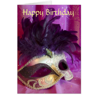 Purple Masquerade Mask Birthday Card