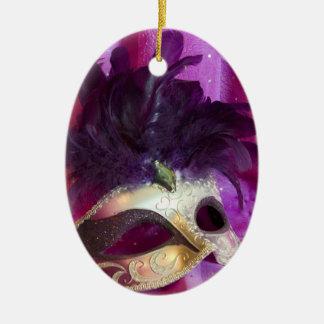 Purple Masquerade Mask Ceramic Ornament