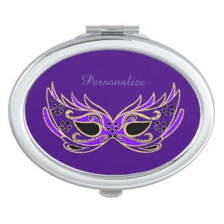 Purple Masquerade Mask Compact Mirror