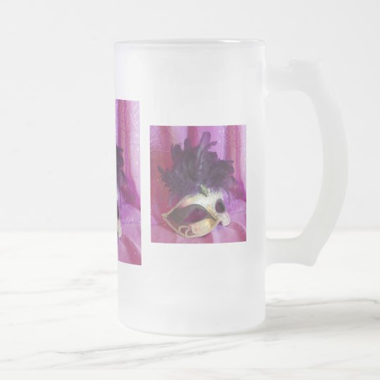 Purple Masquerade Mask Frosted Glass Frosted Glass Beer Mug