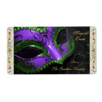 Purple Masquerade Mask  Halloween Baking Label Shipping Label