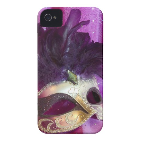 Purple Masquerade Mask iPhone 4 Case-Mate Case