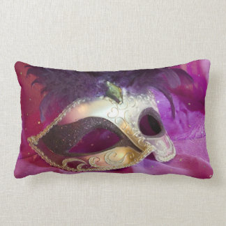 Purple Masquerade Mask Lumbar Pillow