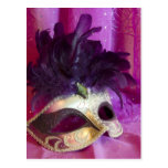 Purple Masquerade Mask Post Cards
