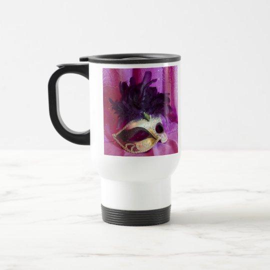 Purple Masquerade Mask Travel Mug