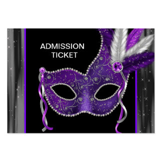 Purple Masquerade Party Admission Tickets Large Business Cards (Pack Of 100)