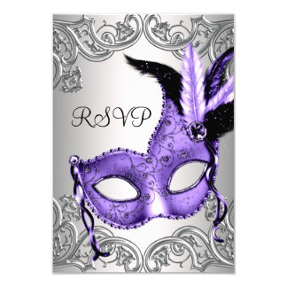 Purple Masquerade Party RSVP Card