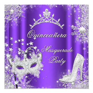 Purple Masquerade Quinceanera 15th Party Tiara Card