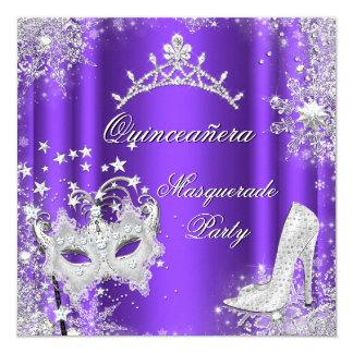 Purple Masquerade Quinceanera 15th Party Tiara 5.25x5.25 Square Paper Invitation Card