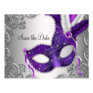 Purple Masquerade Save The Date Postcard
