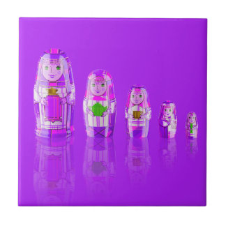 Purple Matryoshka Russian Dolls Tile