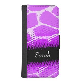 Purple mauve animal print name girls flap case phone wallet cases