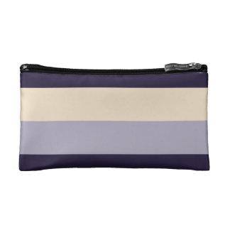 Purple, Mauve, Cream Striped Makeup Bag