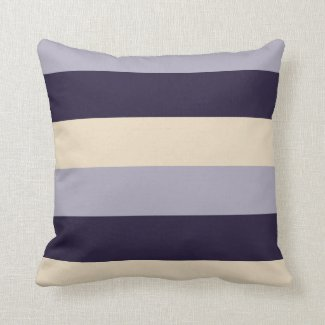 Purple, Mauve, Cream Striped Throw Pillow