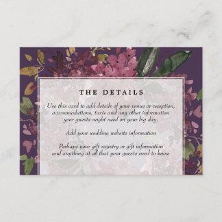 purple mauve floral wedding details information enclosure card