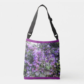 Purple / Mauve Hedge Cross Body Flowers Tote Bag