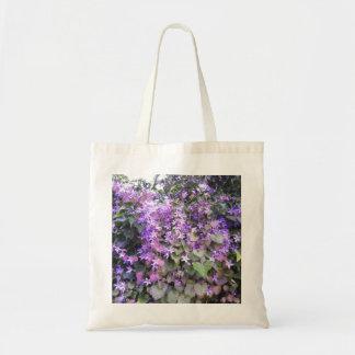 Purple / Mauve Hedge Flowers Budget Tote Bag