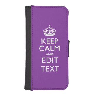Purple Mauve KEEP CALM AND Edit Text iPhone SE/5/5s Wallet Case