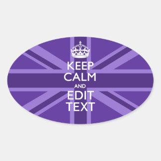 Purple Mauve Keep Calm And Your Text Union Jack Oval Sticker