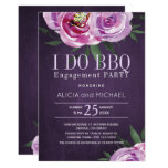 Purple mauve peonies engagement i do bbq party invitation