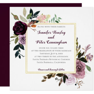 Purple Mauve Pink Gold Floral   Square Wedding Invitation