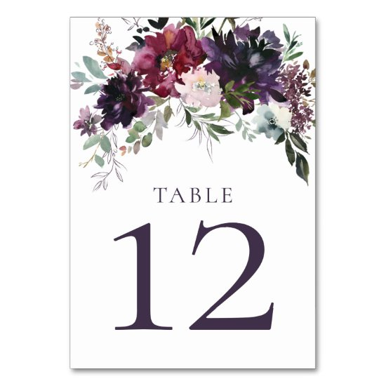 Purple Mauve Pink Red Violet Wedding Table Numbers