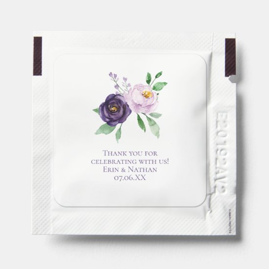 Purple Mauve Roses Wedding Favors Hand Sanitizer Packet