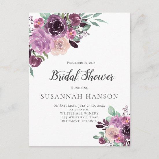 Purple Mauve Sangria Floral Bridal Shower Postcard
