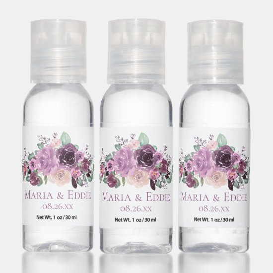 Purple Mauve Sangria Watercolor Flowers Wedding Hand Sanitizer